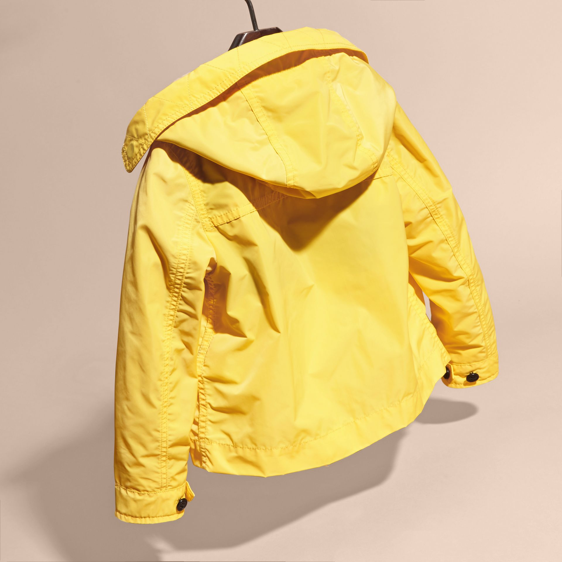 Bright yellow Hooded Packaway Technical Jacket Bright Yellow - gallery image 4