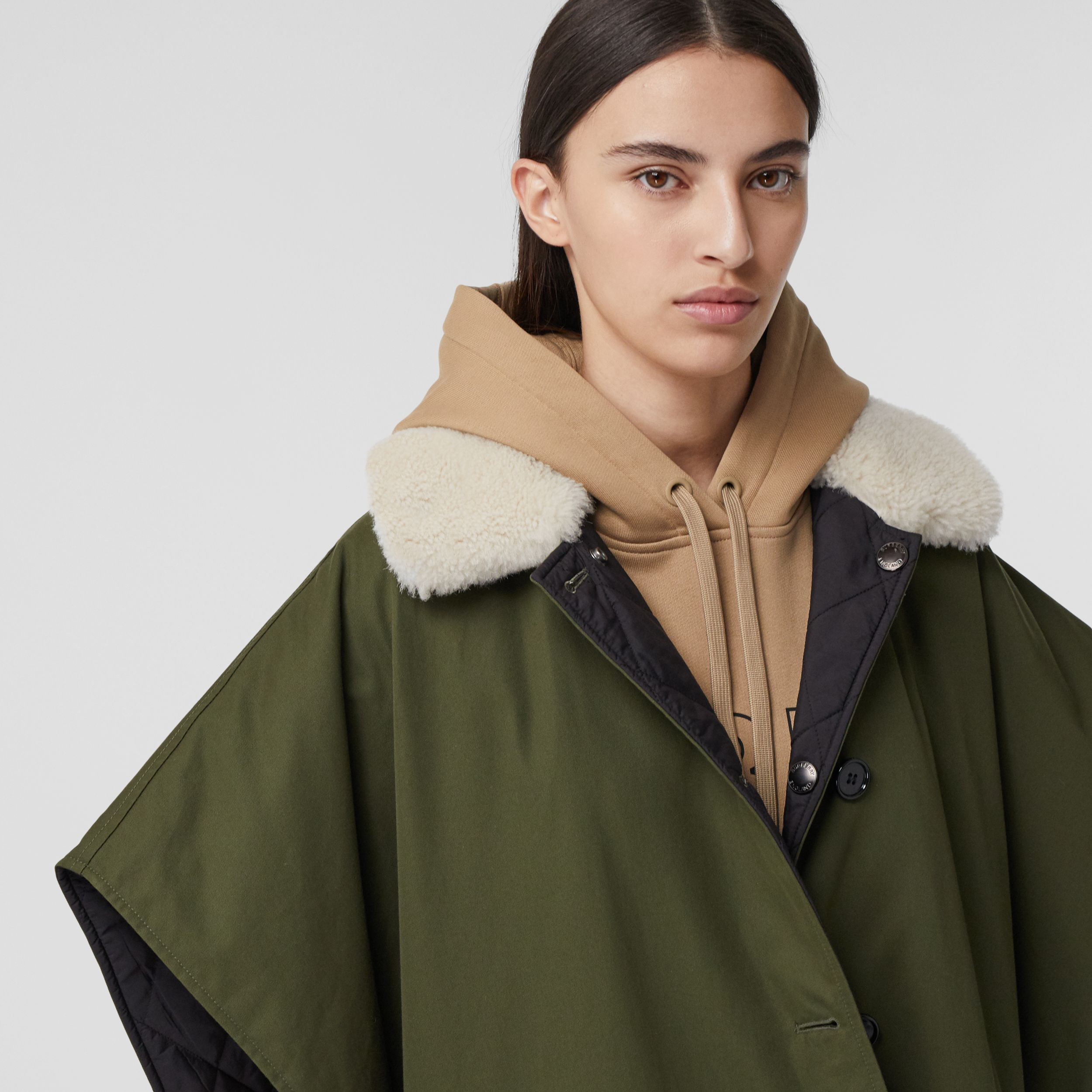 Fleece Collar Reversible Cotton Gabardine Cape in Dark Olive Green - Women | Burberry - 2