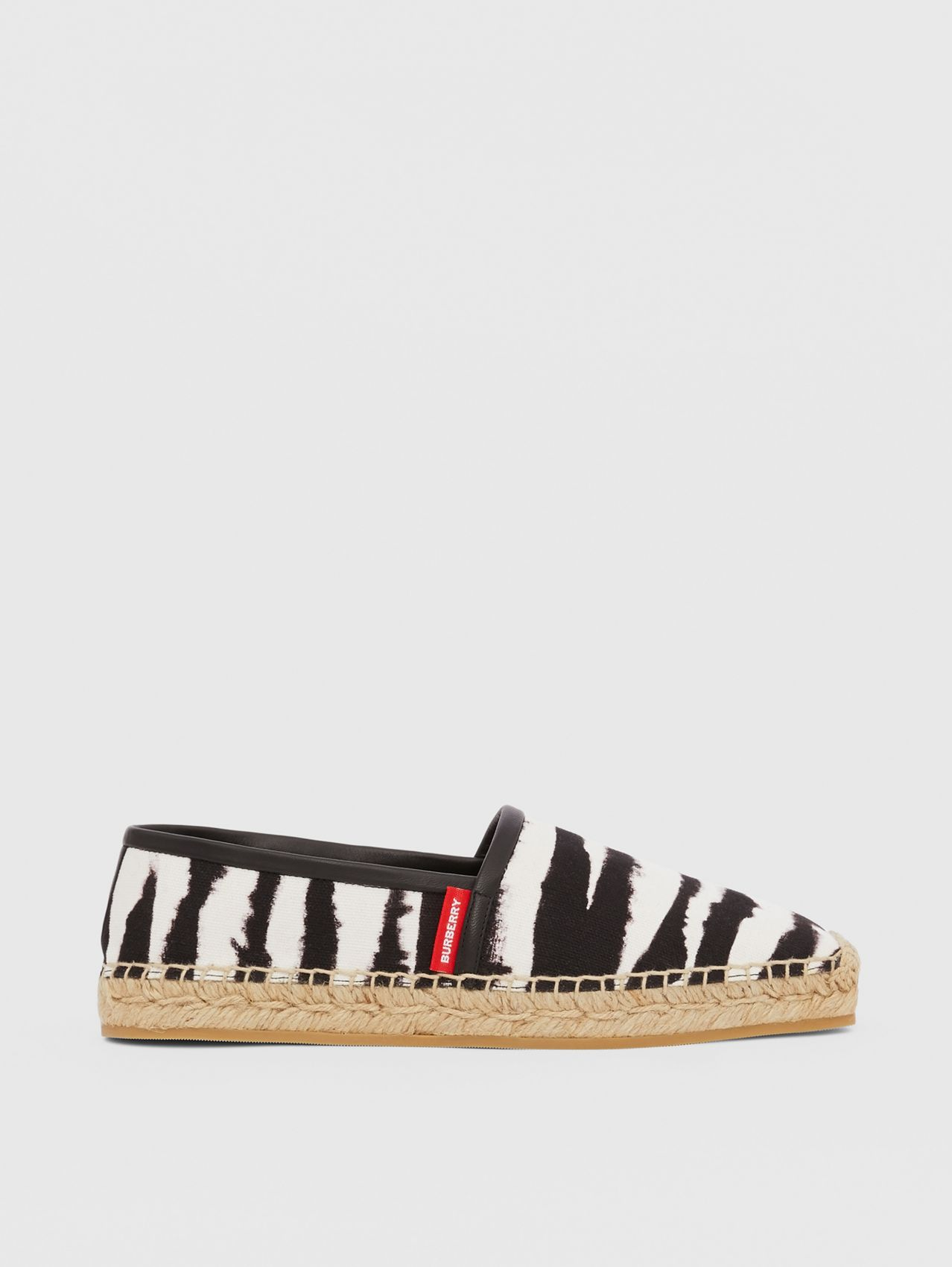 Watercolour Print Cotton Canvas Espadrilles in Black/white