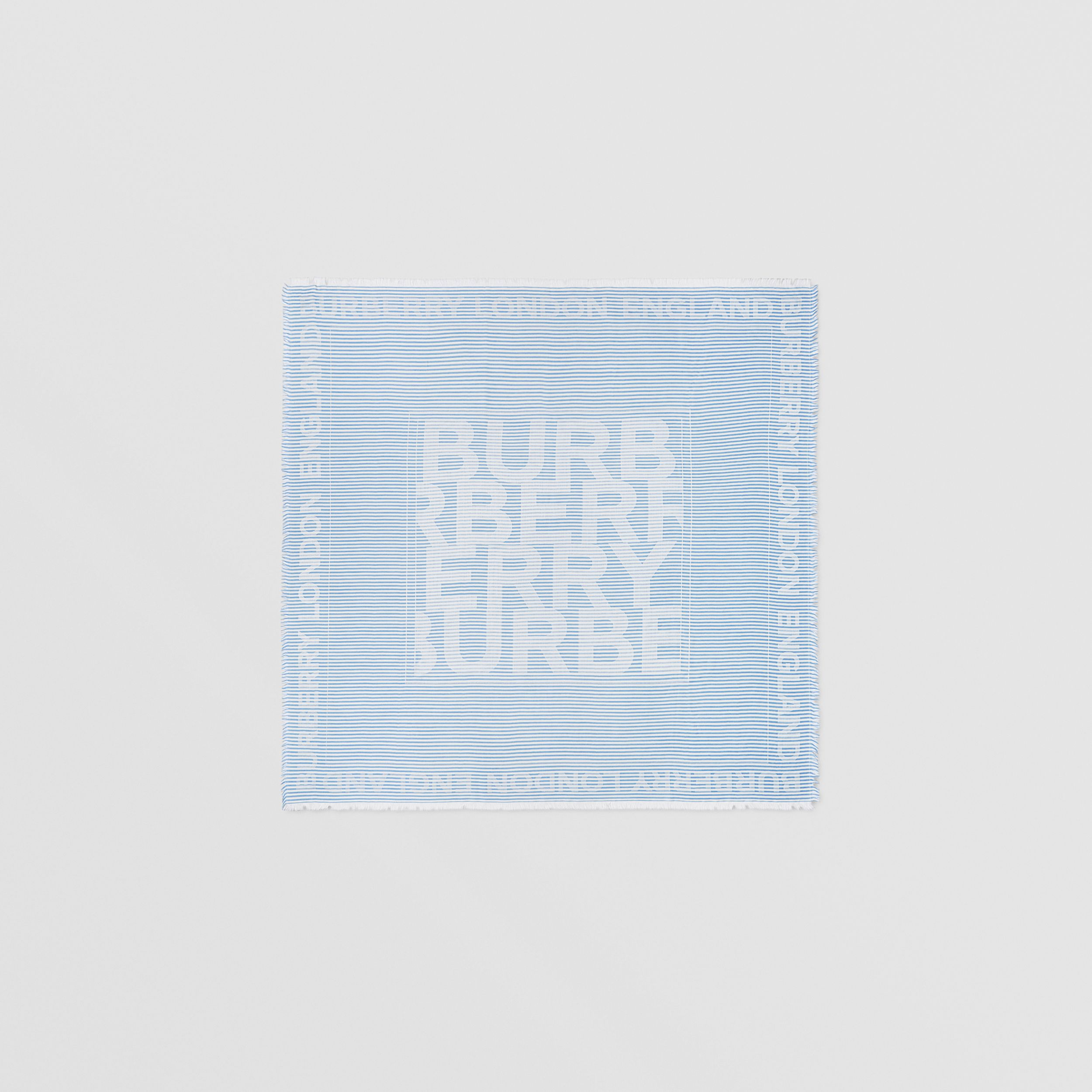Striped Logo Silk Wool Jacquard Large Square Scarf in Pale Blue | Burberry Hong Kong S.A.R. - 1
