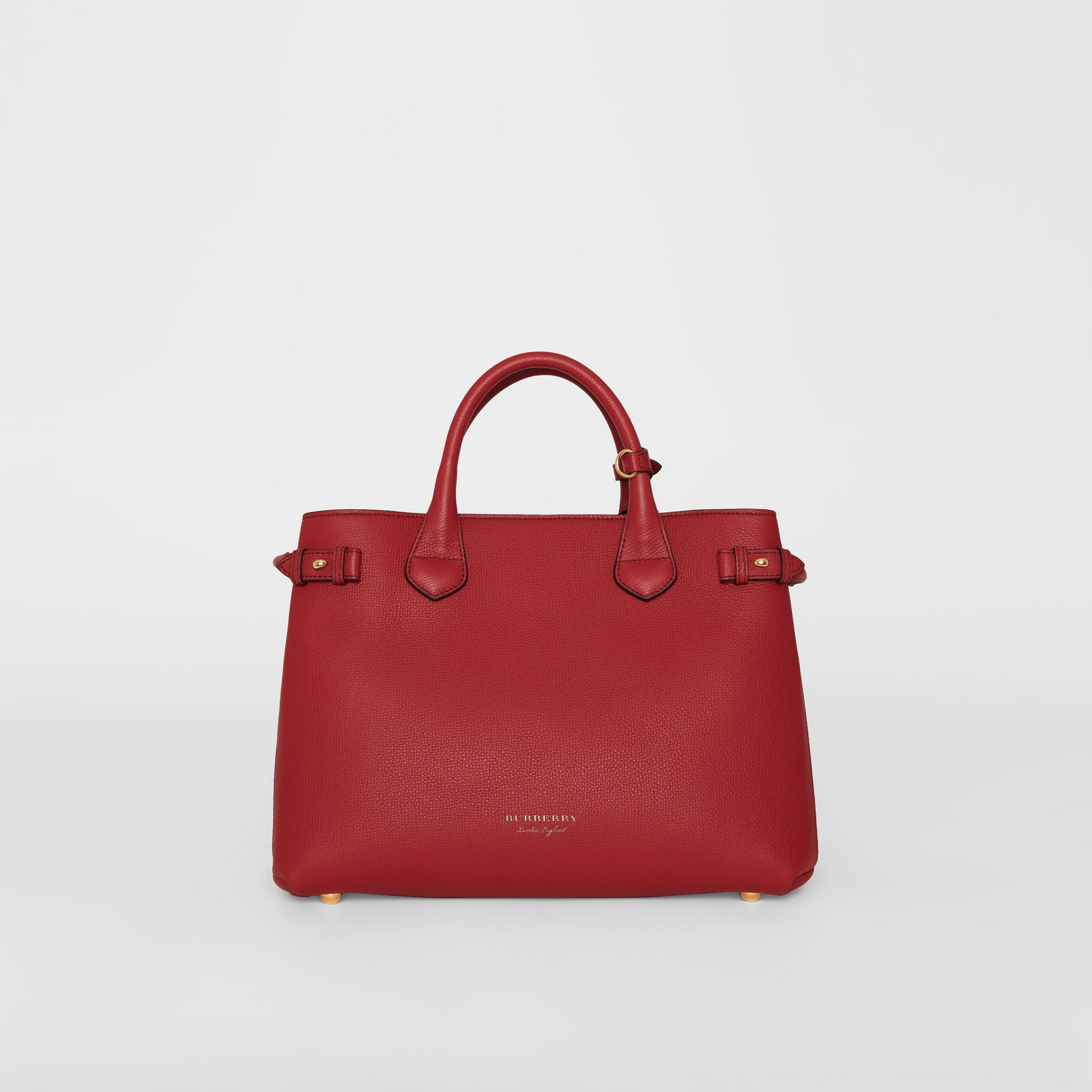 The Medium Banner in Leather and House Check in Russet Red - Women | Burberry - 1