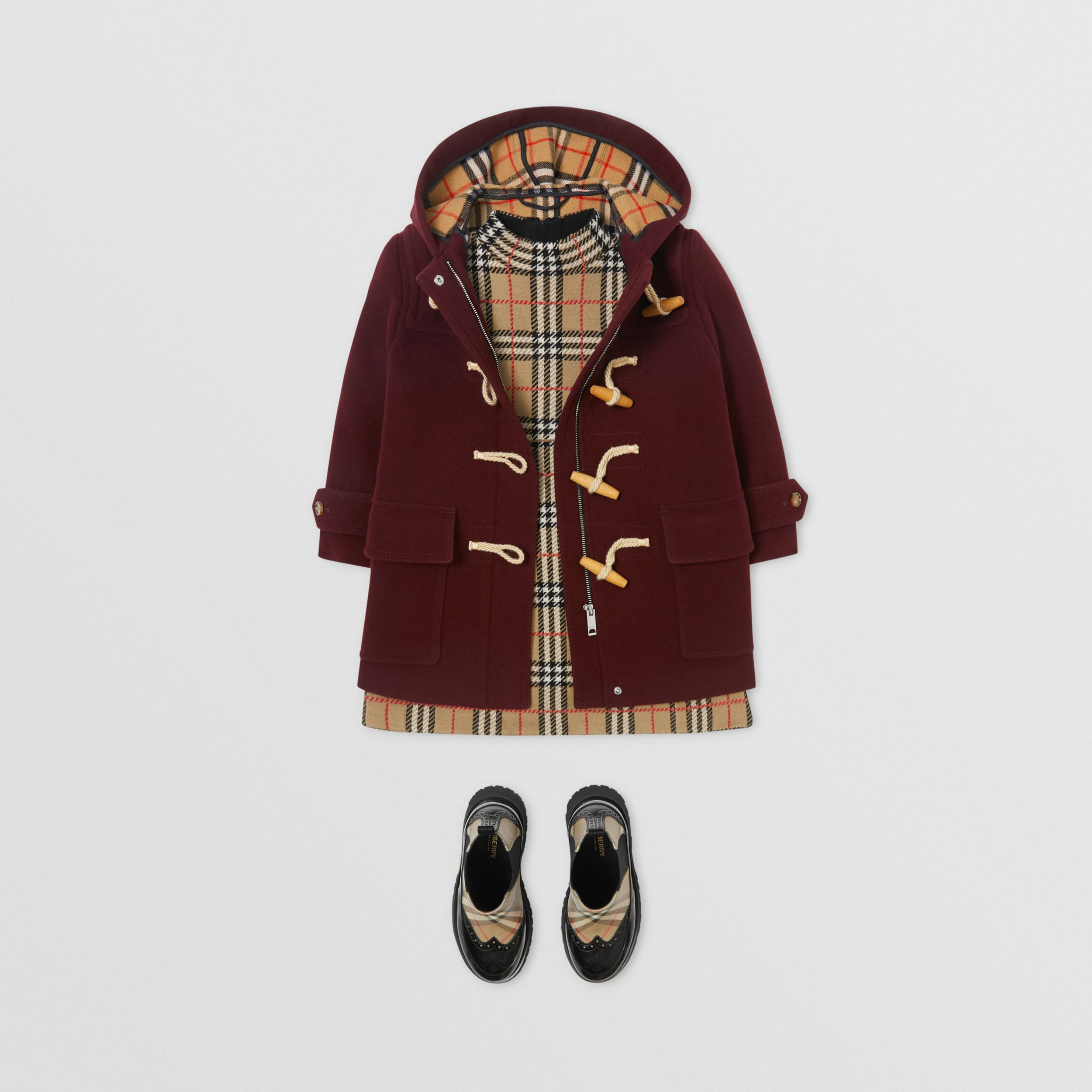 Double-faced Wool Duffle Coat in Burgundy | Burberry Singapore - 4
