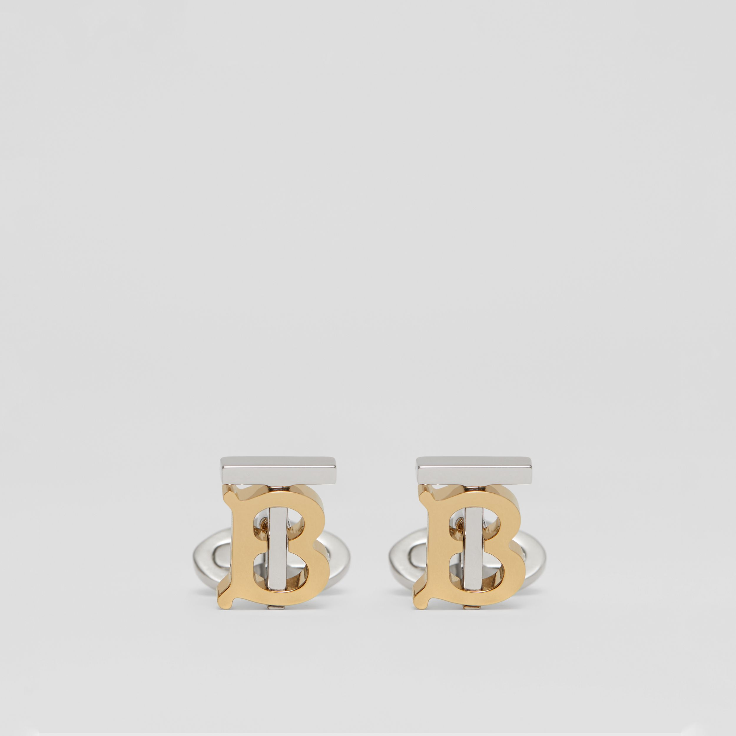 Monogram Motif Gold and Palladium-plated Cufflinks in Light Gold/palladium - Men | Burberry - 1