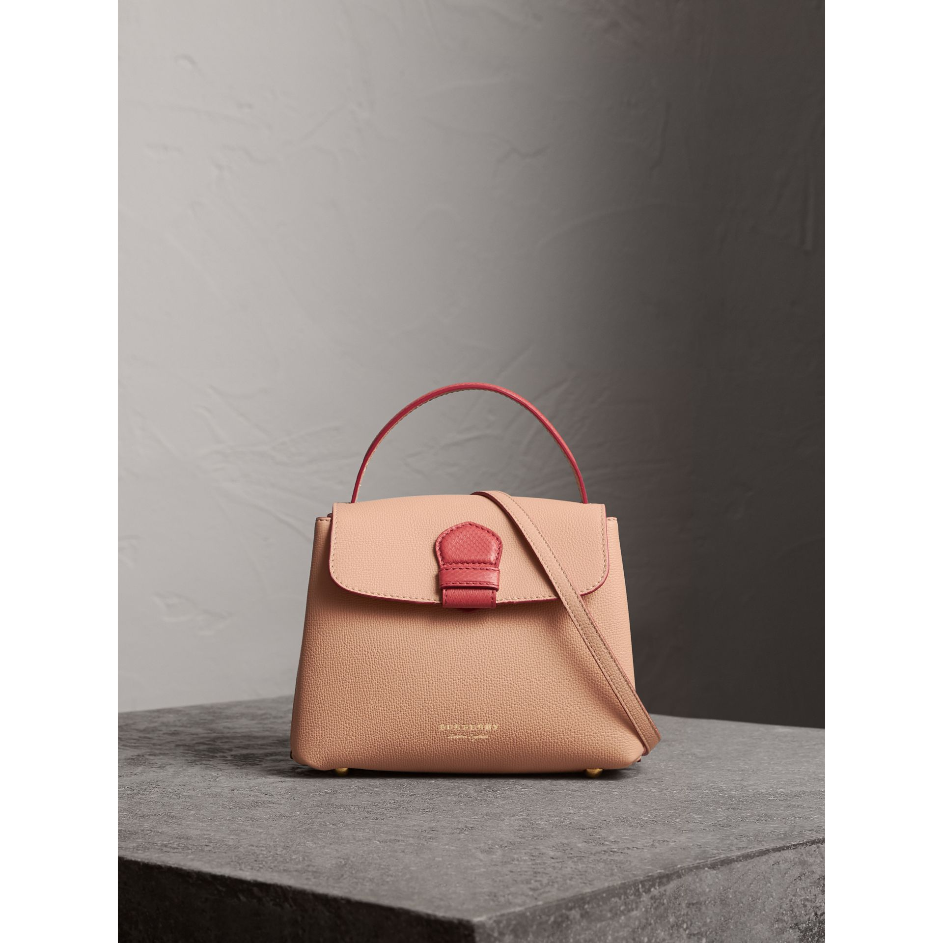 Small Two-tone Leather and House Check Tote in Pale Apricot - Women | Burberry Australia - gallery image 7