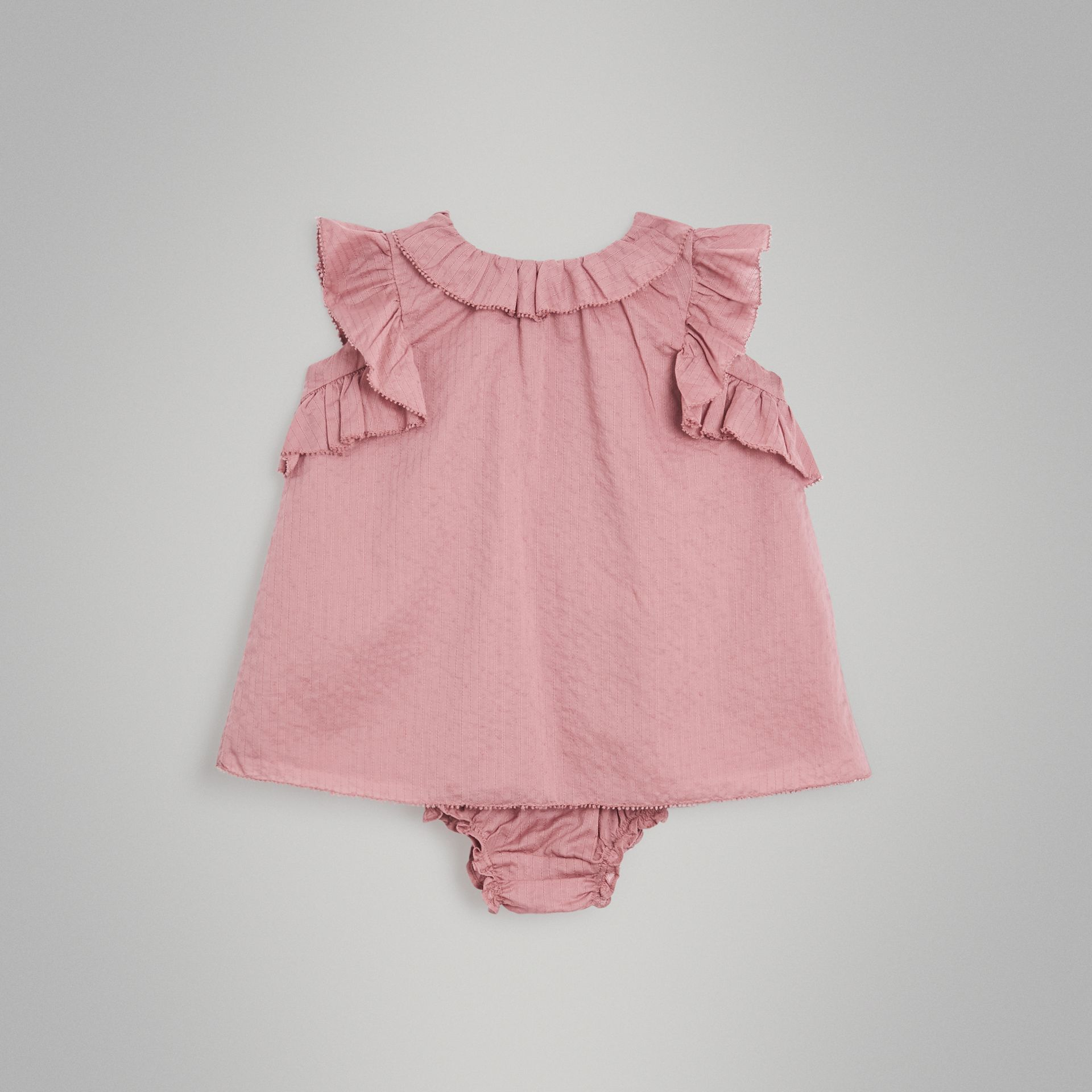Ruffle Detail Cotton Dress with Bloomers in Light Elderberry - Children | Burberry Singapore - gallery image 0