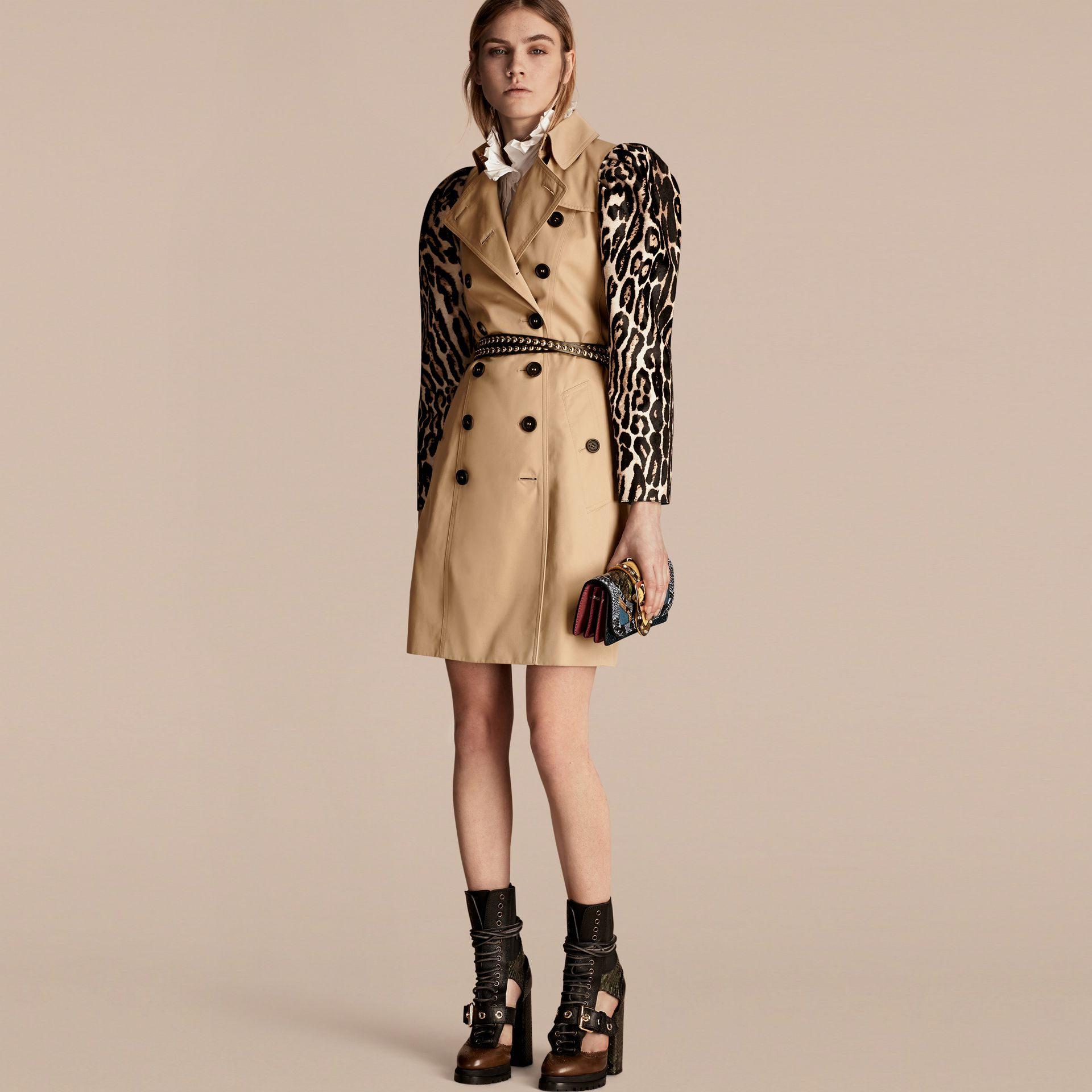 Honey Cotton Gabardine Trench Coat with Leopard-print Sleeves - gallery image 1
