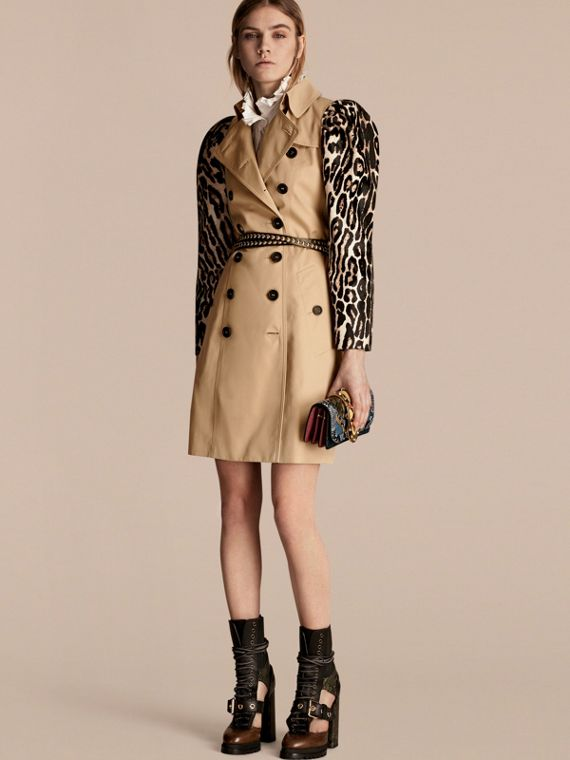 Cotton Gabardine Trench Coatwith Leopard-print Sleeves