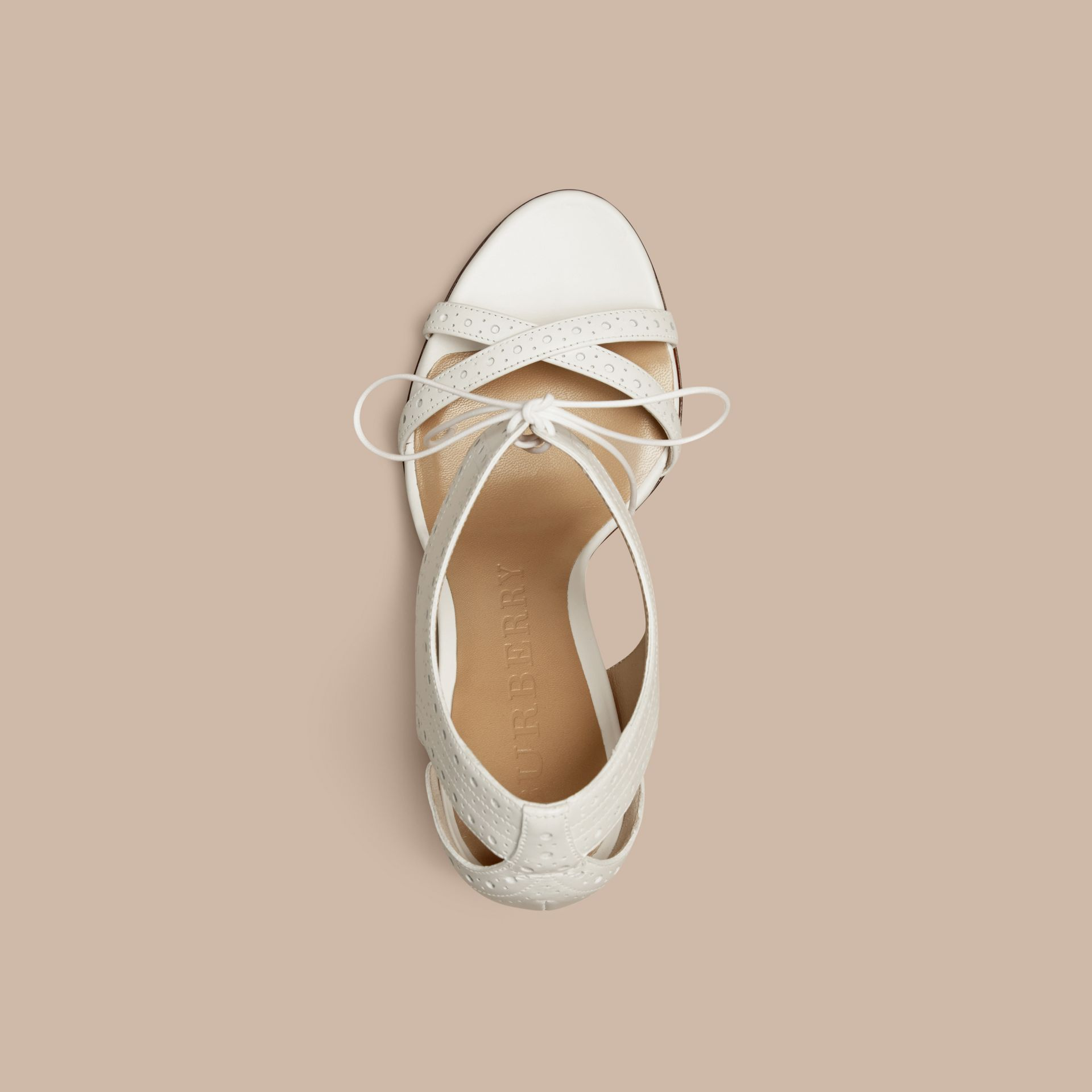 Optic white Perforated Detail Lace-up Leather Sandals - gallery image 4