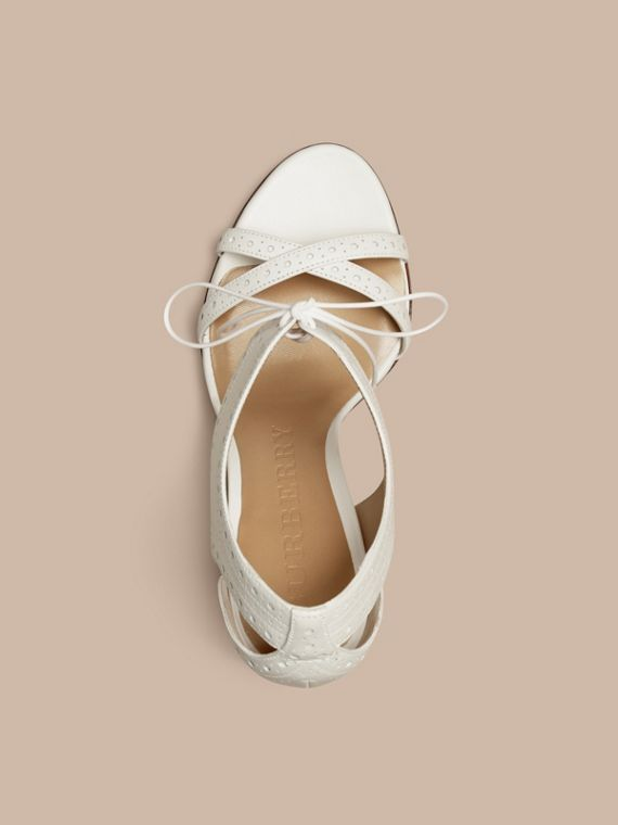 Optic white Perforated Detail Lace-up Leather Sandals - cell image 3