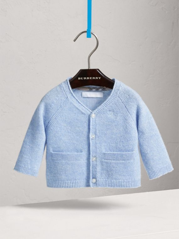 Classic Cashmere Cardigan in Ice Blue