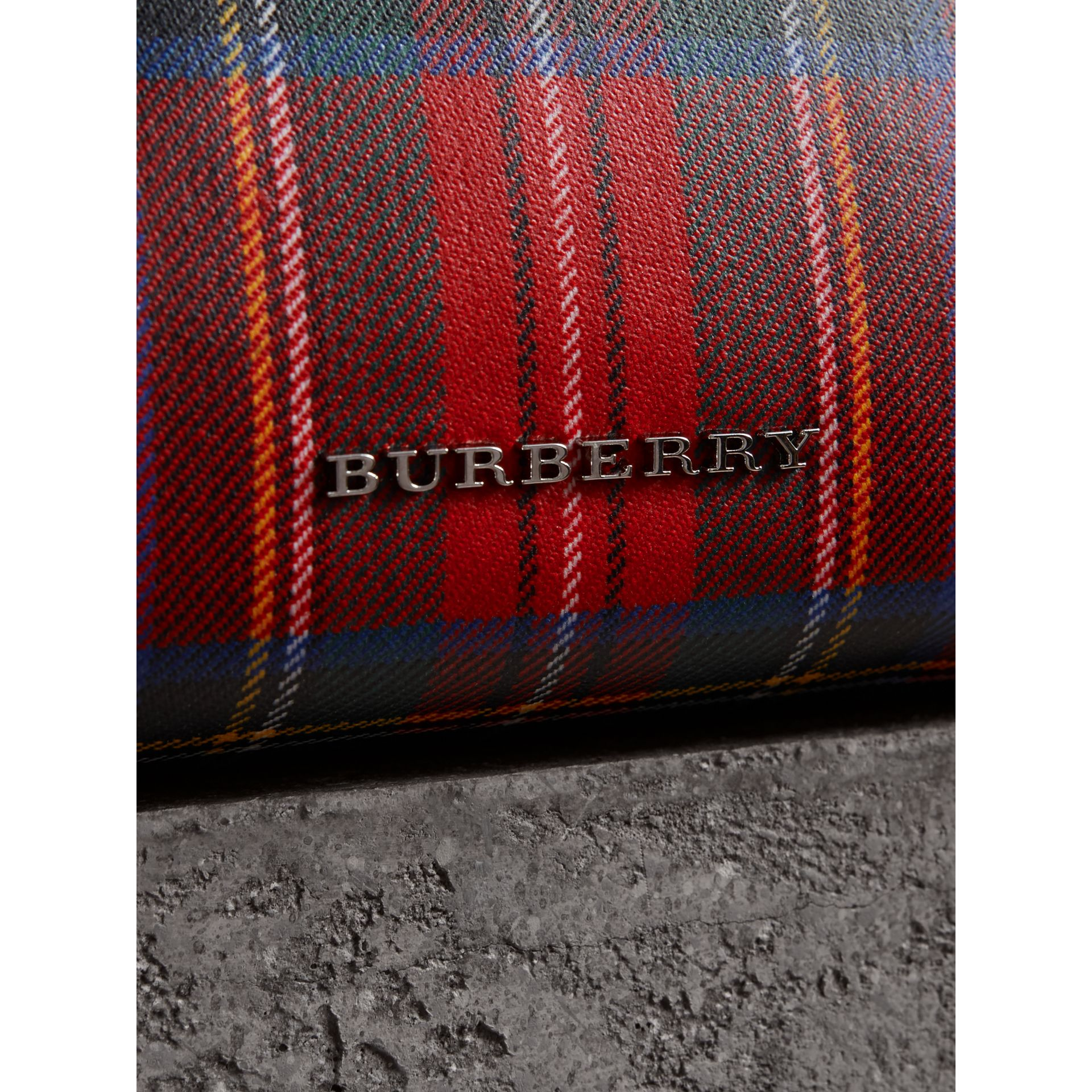 Large Laminated Tartan and Check Wool Blend Pouch in Military Red - Women | Burberry Australia - gallery image 1