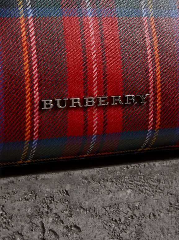 Large Laminated Tartan and Check Wool Blend Pouch in Military Red - Women | Burberry - cell image 1