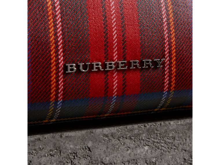 Large Laminated Tartan and Check Wool Blend Pouch in Military Red - Women | Burberry Australia - cell image 1