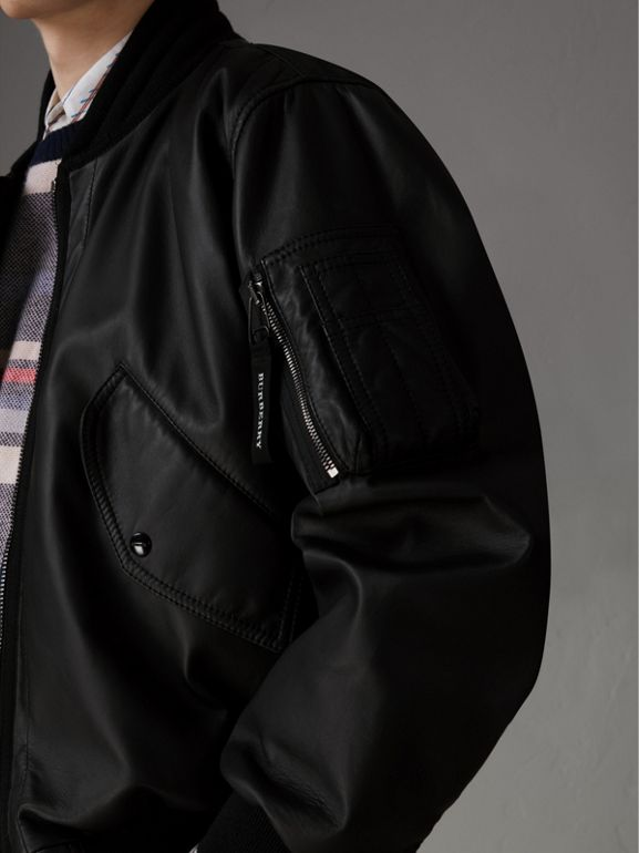 Lambskin Bomber Jacket in Black - Men | Burberry United States - cell image 1