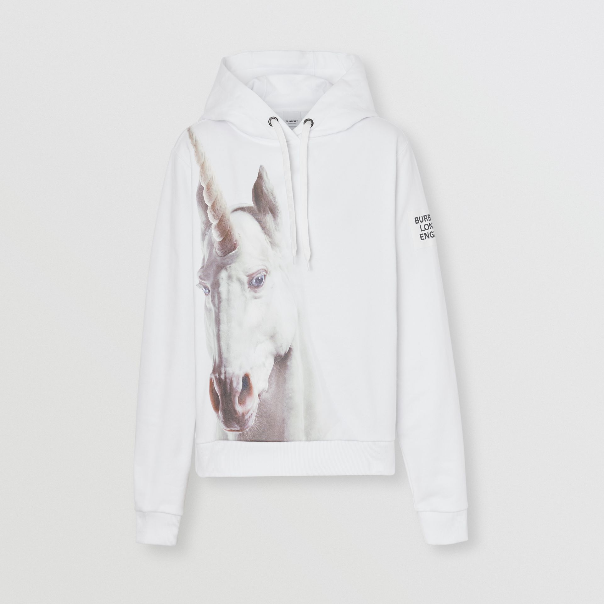 Unicorn Print Cotton Oversized Hoodie in White - Women | Burberry - gallery image 1