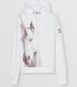 0853139e911 Unicorn Print Cotton Oversized Hoodie in White