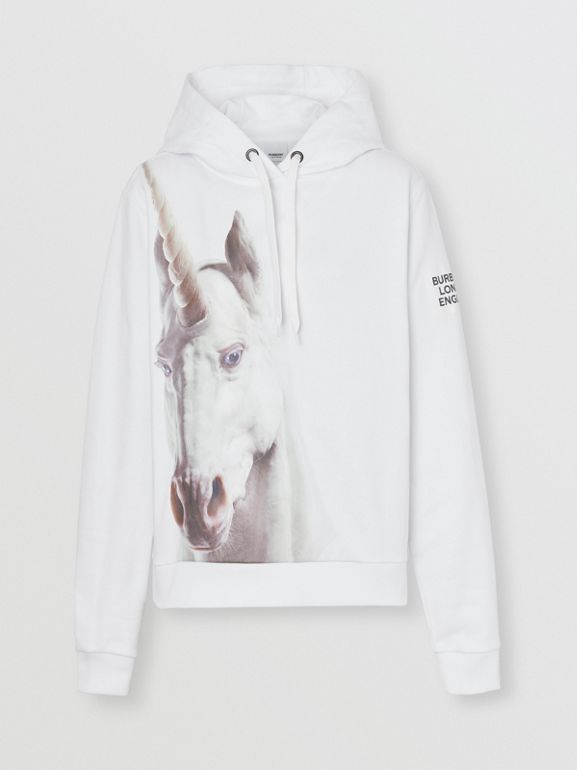 Unicorn Print Cotton Hoodie in White - Women | Burberry Australia - cell image 1