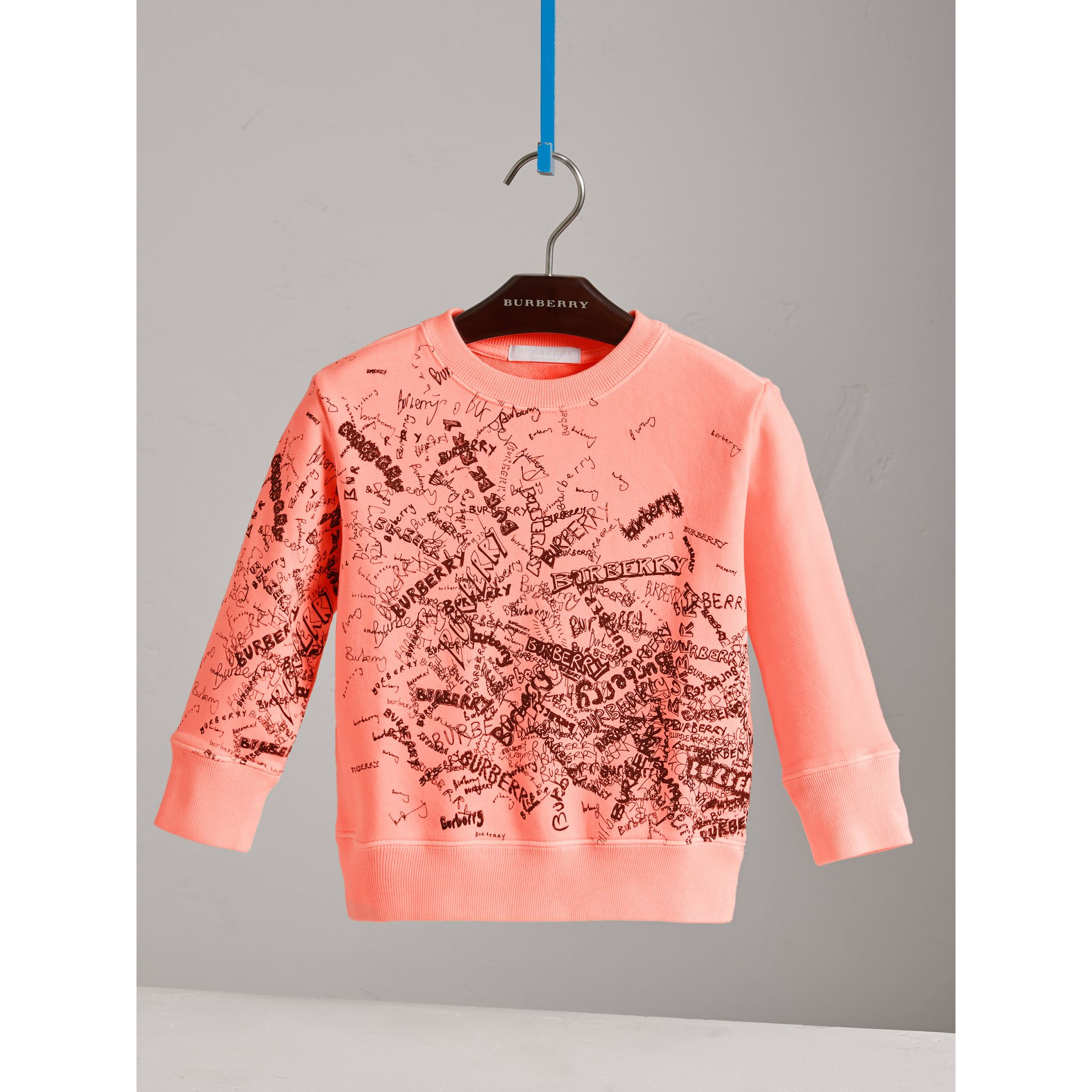 Doodle Print Cotton Sweatshirt in Bright Clementine | Burberry - gallery image 0