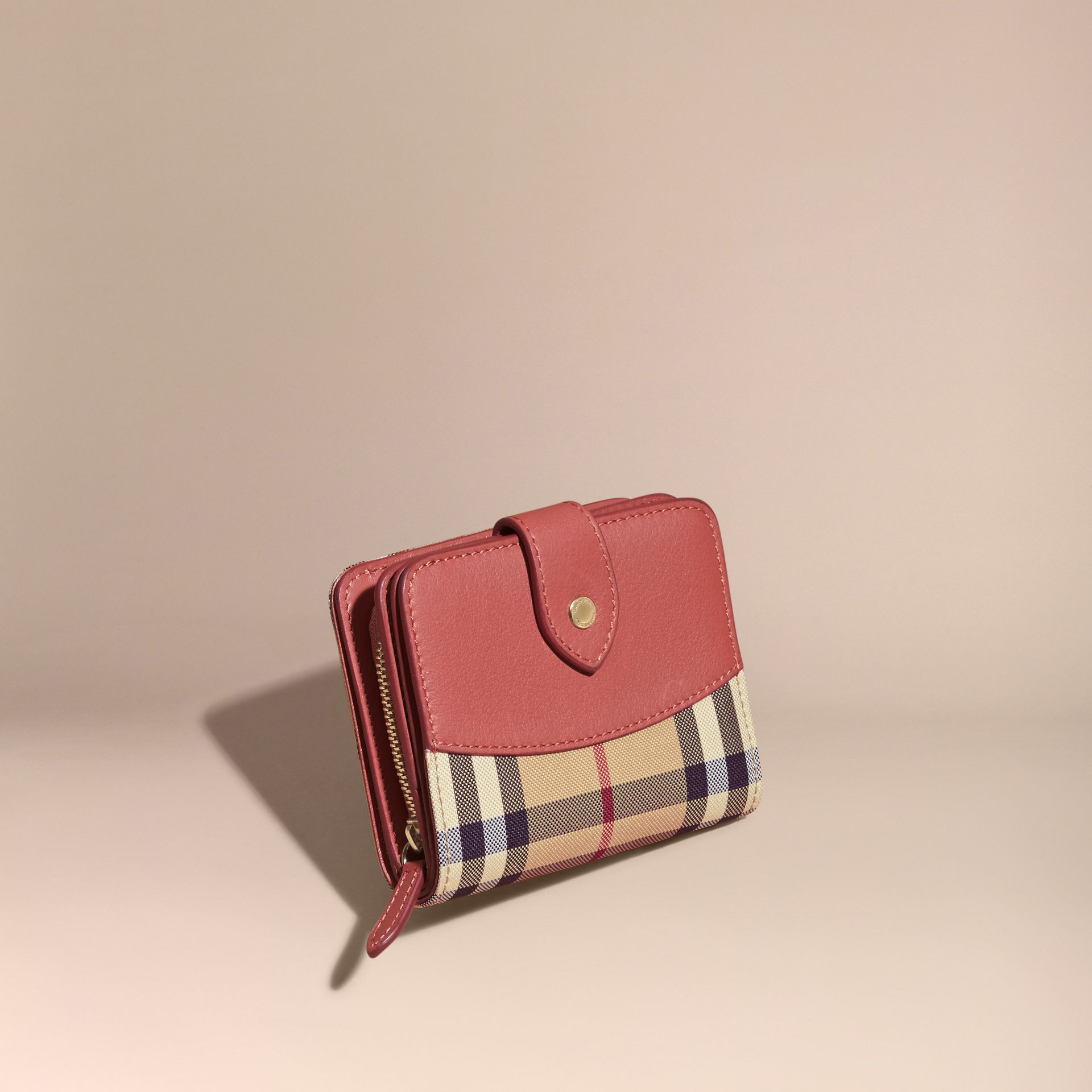 Horseferry Check and Leather Wallet Antique Rose - gallery image 1