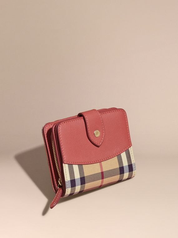 Horseferry Check and Leather Wallet Antique Rose