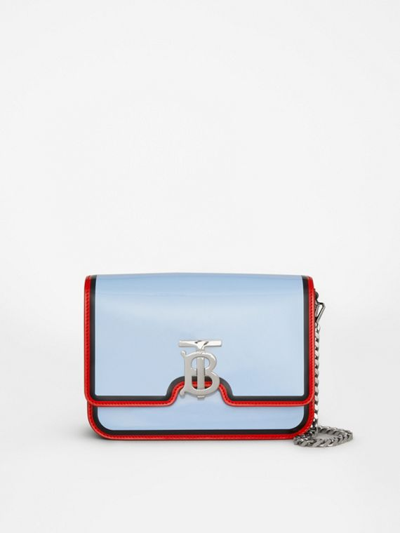 Small Painted Edge Leather TB Bag in Pale Blue