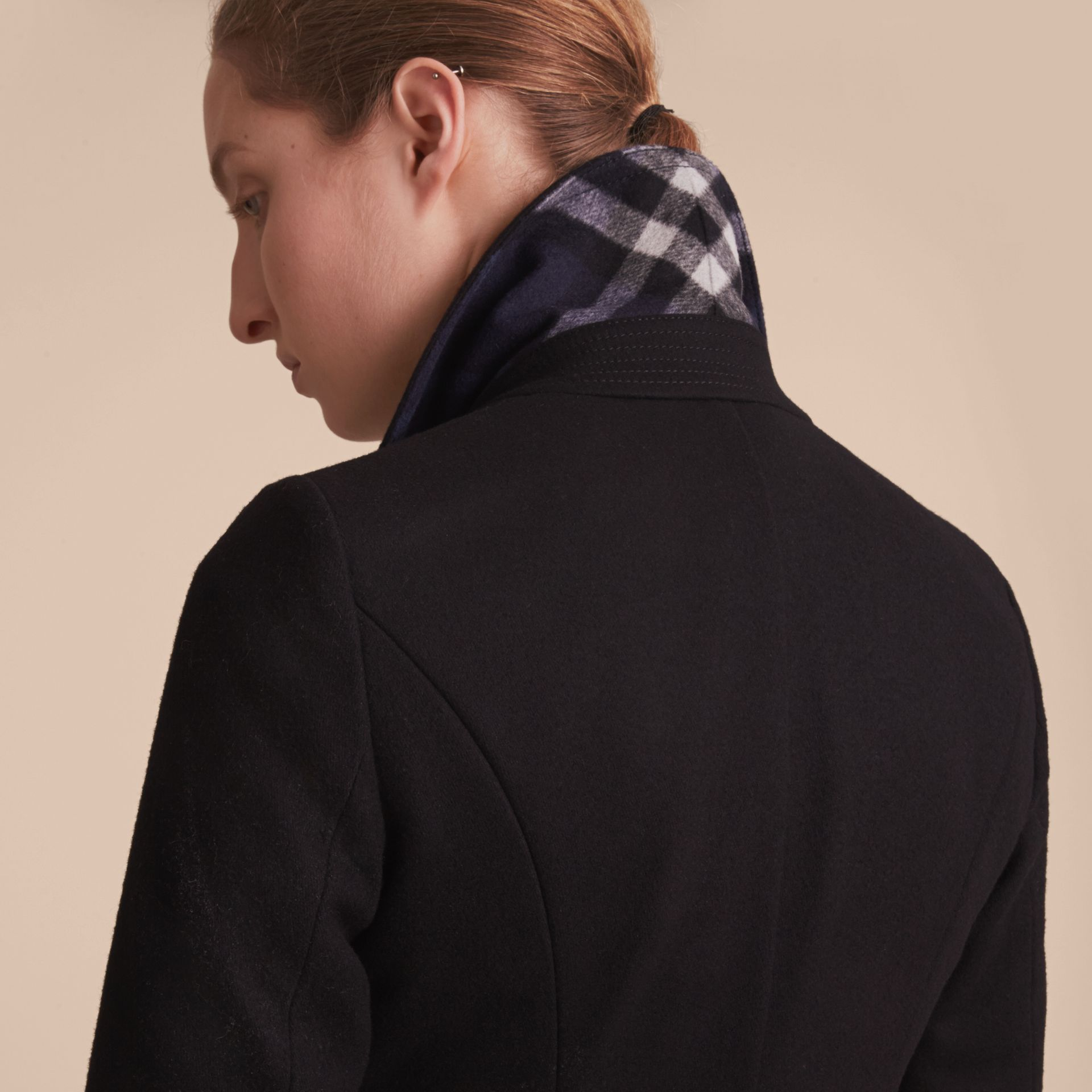 Wool Blend Double-breasted Coat in Black - Women | Burberry Canada - gallery image 6