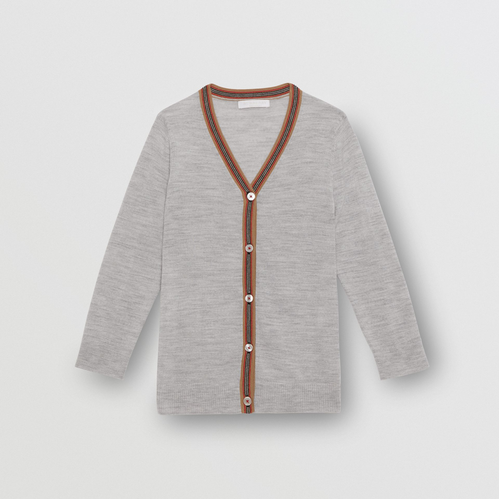 Icon Stripe Detail Merino Wool Cardigan in Light Grey Melange | Burberry United States - gallery image 0