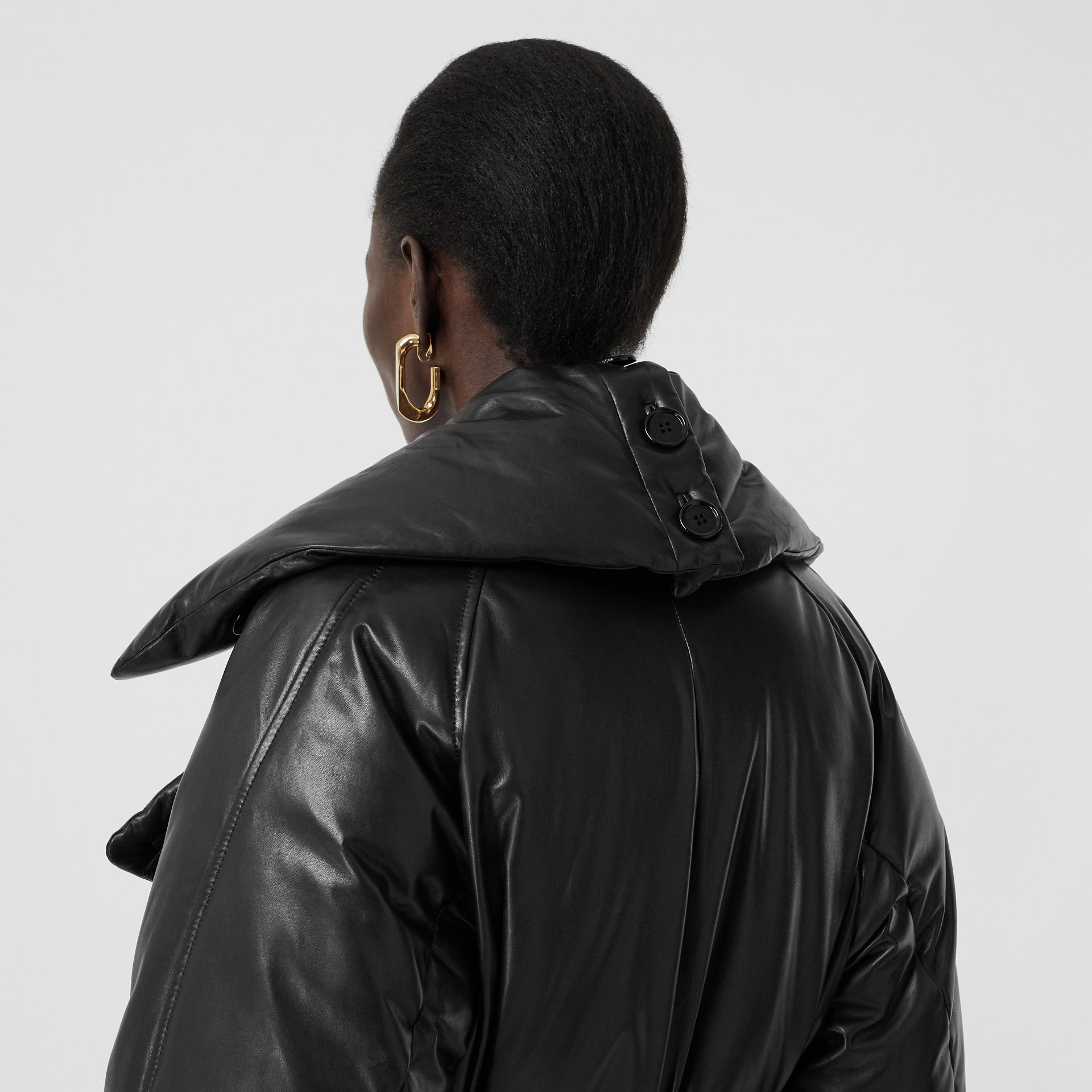 Lambskin Down-filled Oversized Trench Coat in Black - Women | Burberry - gallery image 4