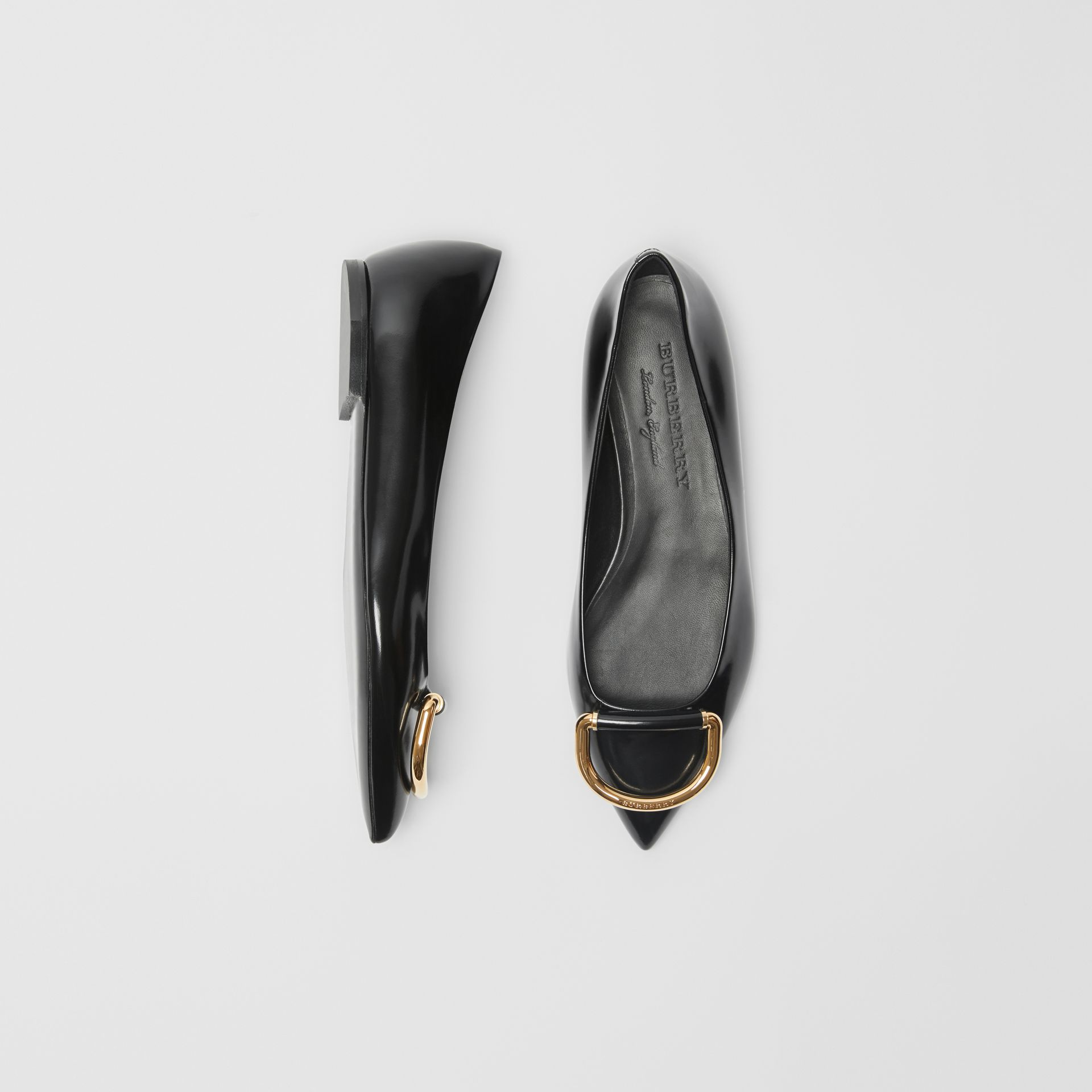 The Leather D-ring Flat in Black/gold - Women | Burberry - gallery image 0