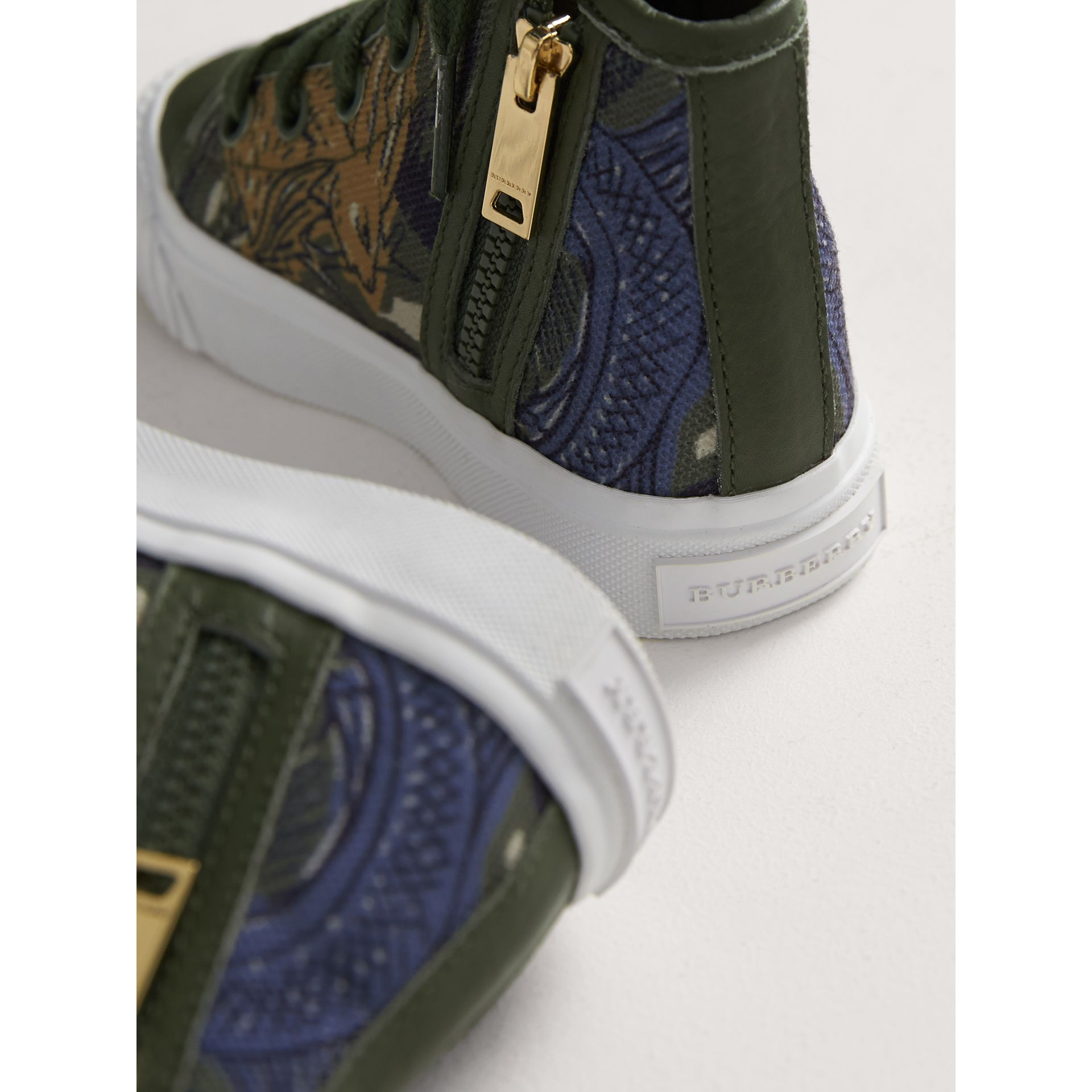 Beasts Print Cotton and Leather High-top Trainers in Clay Green | Burberry United Kingdom - gallery image 2