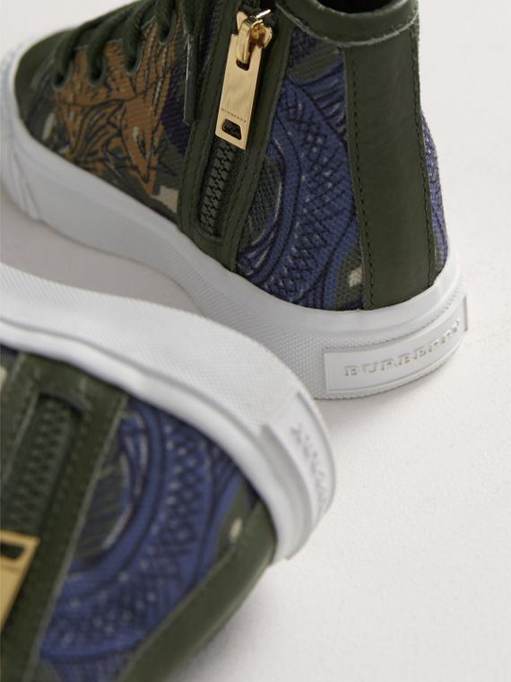 Beasts Print Cotton and Leather High-top Trainers in Clay Green | Burberry United Kingdom - cell image 2