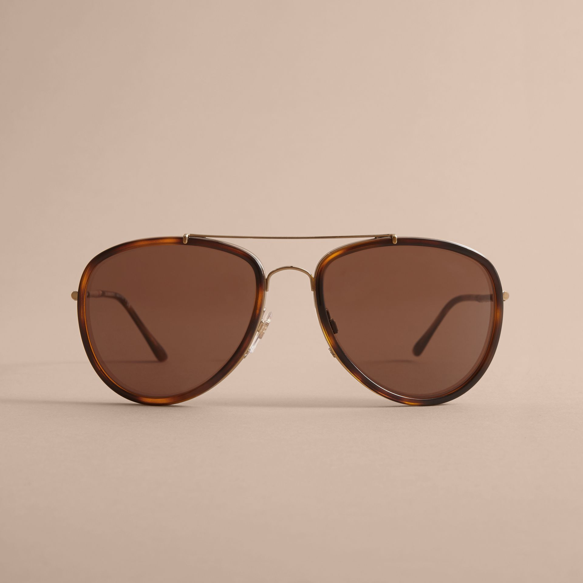 Check Detail Pilot Sunglasses in Tortoise Shell - Men | Burberry United States - gallery image 2