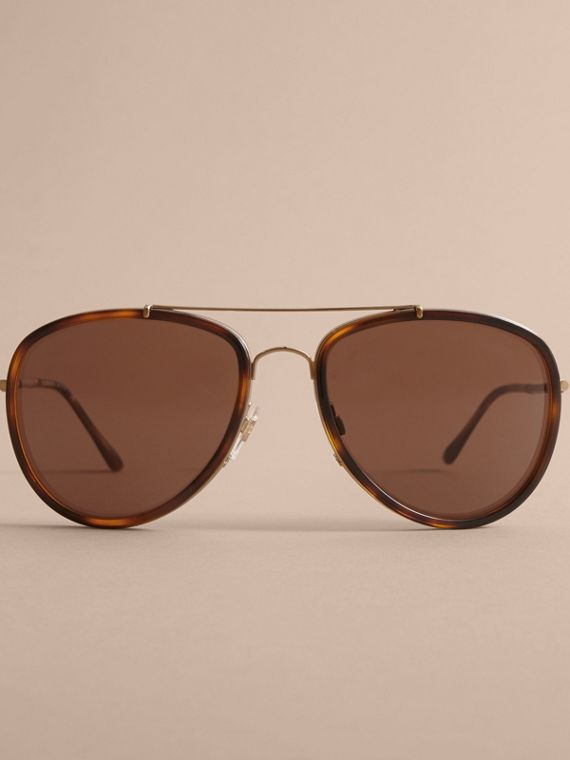 Check Detail Pilot Sunglasses in Tortoise Shell - Men | Burberry - cell image 2