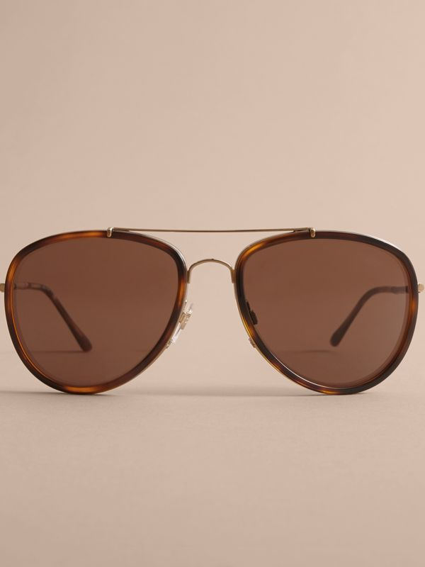 Check Detail Pilot Sunglasses in Tortoise Shell - Men | Burberry United States - cell image 2