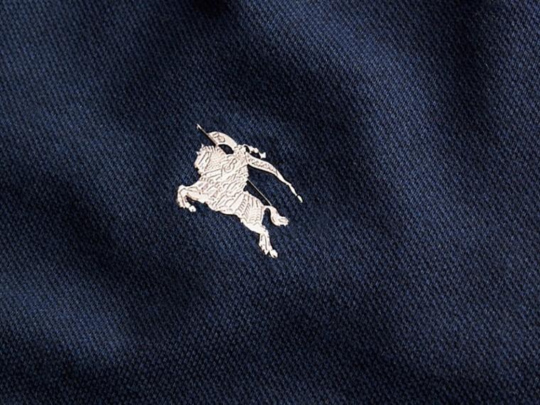 Navy mélange Polo in cotone piqué con dettaglio dal colore a contrasto Navy Mélange - cell image 1