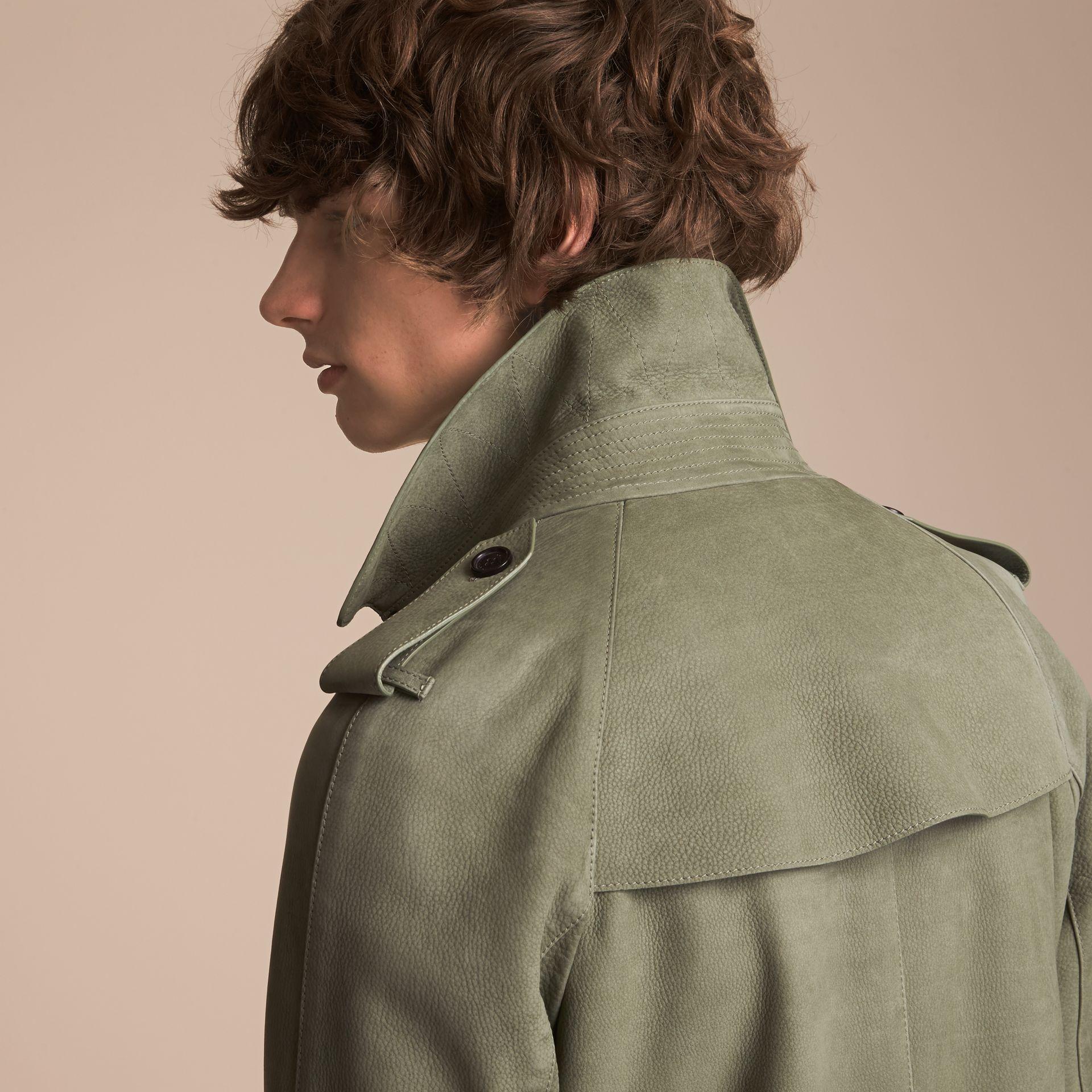 Lightweight Grainy Nubuck Trench Coat in Khaki Green - Men | Burberry - gallery image 6