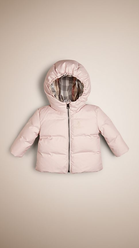 Ice pink Check-Lined Puffer Jacket - Image 1