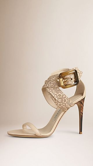 Buckle Detail Laser-cut Lace Leather Sandals