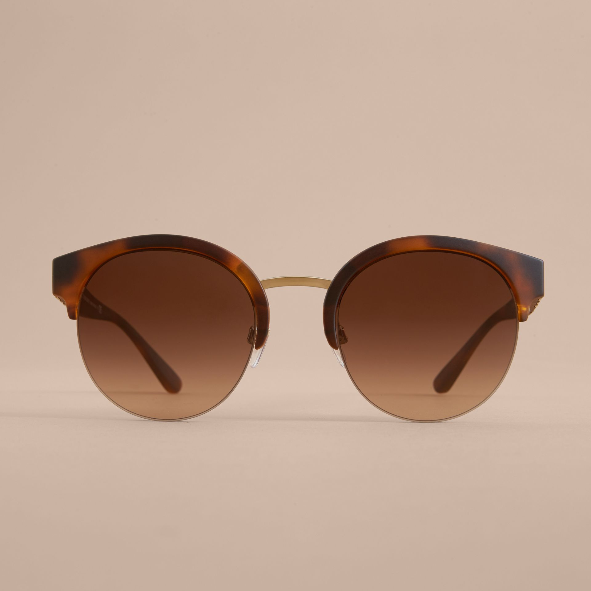 Check Detail Round Half-frame Sunglasses in Brown - Women | Burberry - gallery image 3
