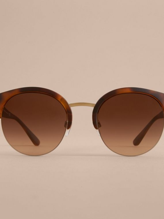 Check Detail Round Half-frame Sunglasses in Brown - Women | Burberry Canada - cell image 2