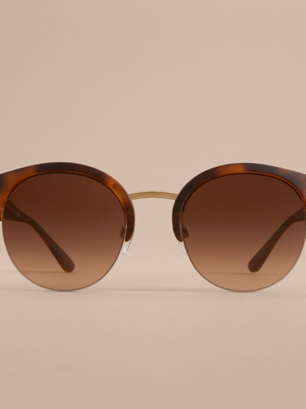 Check Detail Round Half-frame Sunglasses in Brown - Women | Burberry United States - cell image 2