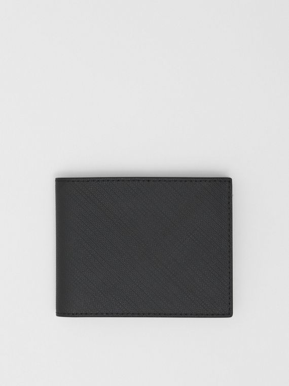 London Check and Leather Bifold Wallet in Dark Charcoal
