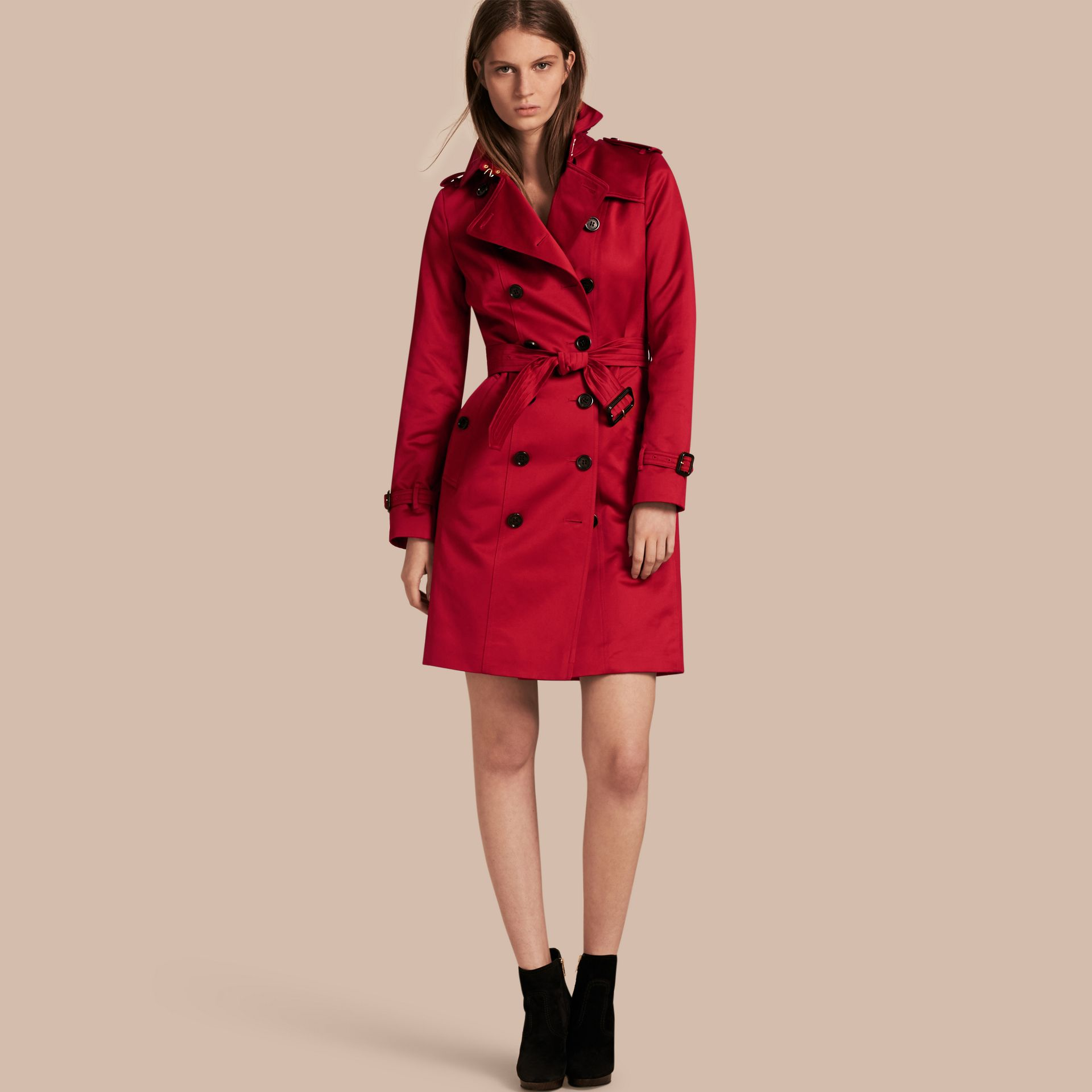 Parade red Cotton Sateen Trench Coat - gallery image 1