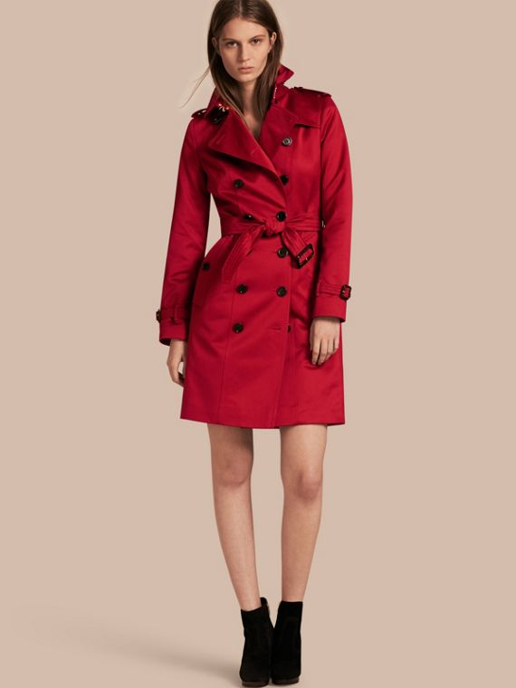 Trench-coat en satin de coton