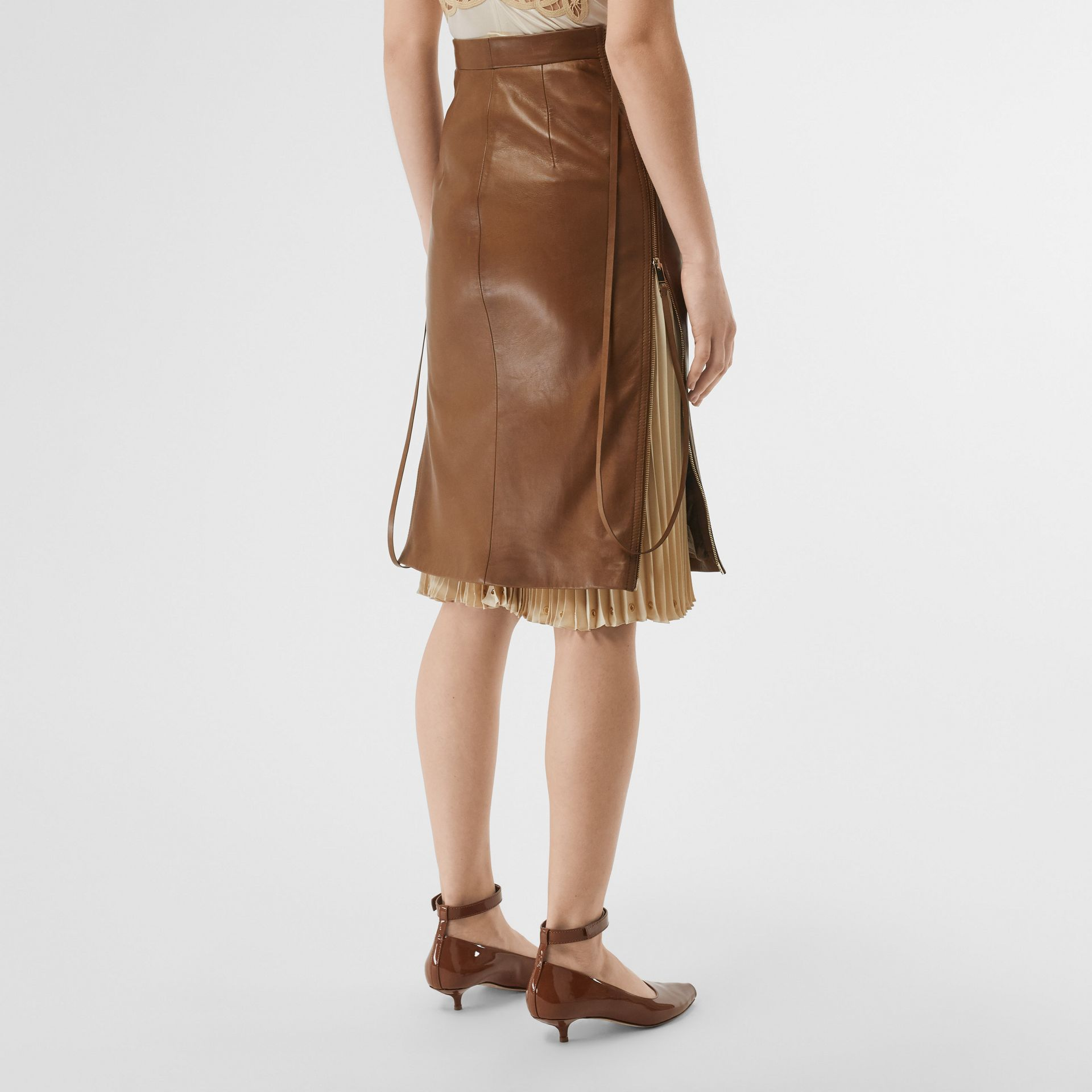 Double Zip Lambskin Skirt in Brown - Women | Burberry United Kingdom - gallery image 2