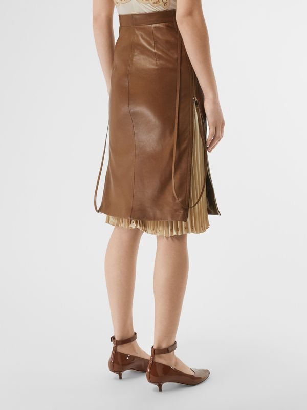 Double Zip Lambskin Skirt in Brown - Women | Burberry Australia - cell image 2