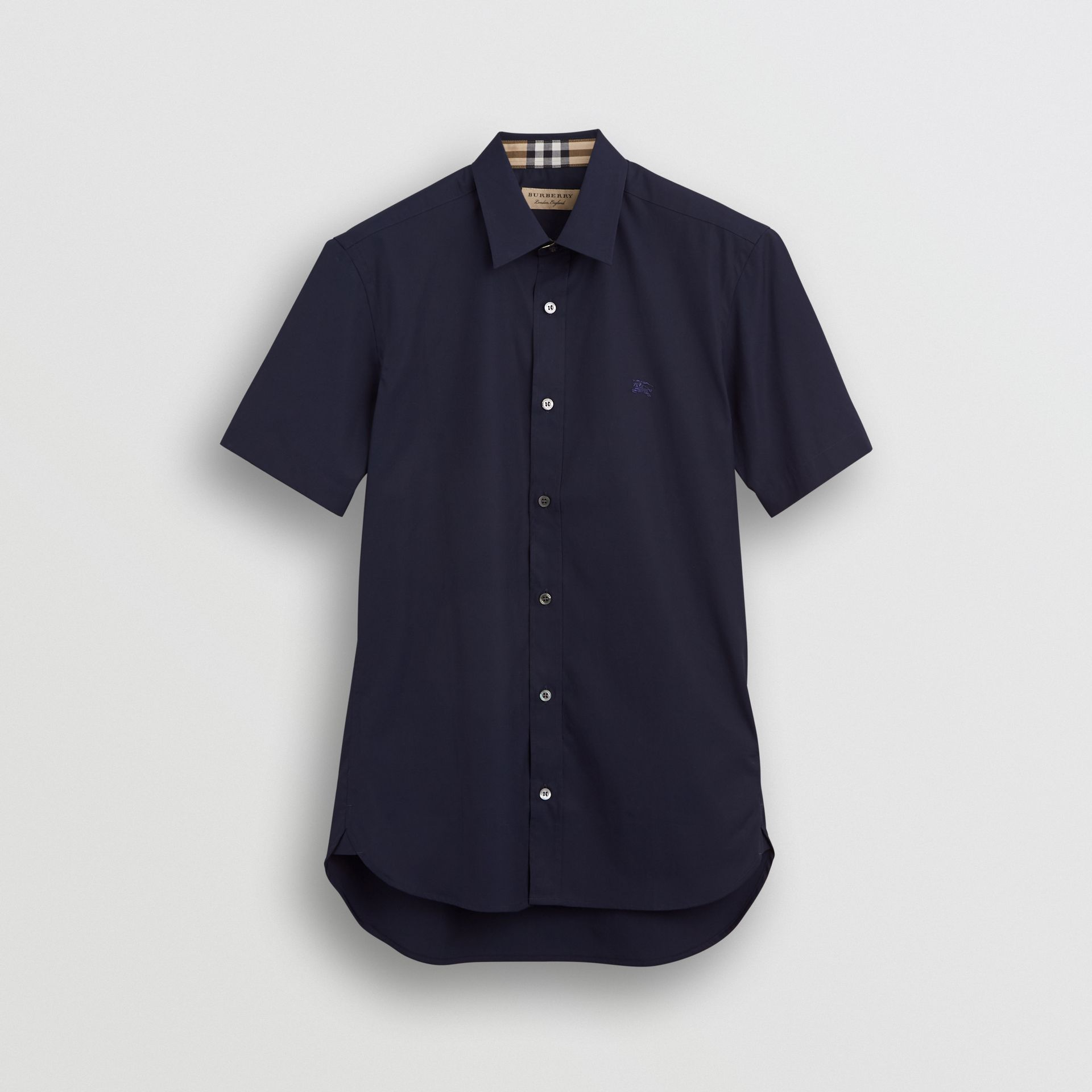 Short-sleeve Stretch Cotton Shirt in Navy - Men | Burberry United Kingdom - gallery image 3