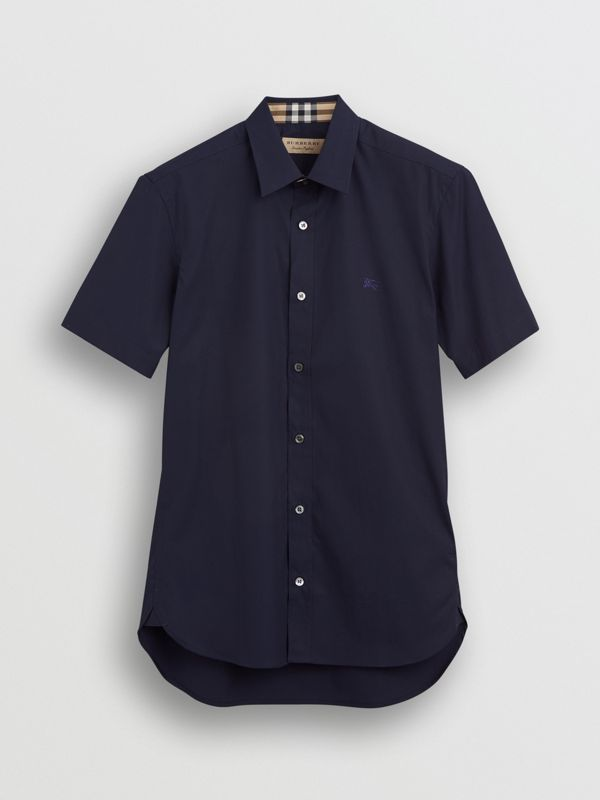 Short-sleeve Stretch Cotton Shirt in Navy - Men | Burberry United Kingdom - cell image 3