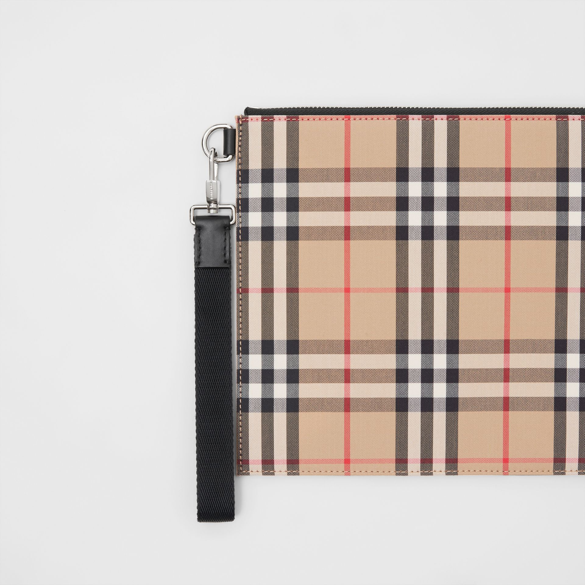 Vintage Check Cotton Zip Pouch in Archive Beige | Burberry Australia - gallery image 1