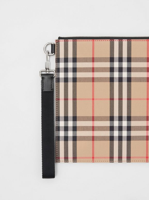 Vintage Check Cotton Zip Pouch in Archive Beige | Burberry Australia - cell image 1